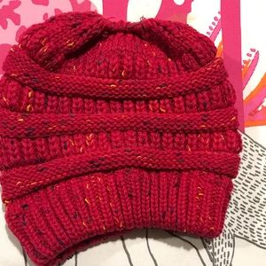Accessories - Hot pink knit beanie with top bun hole